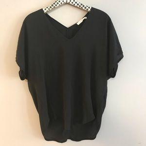 Lush Black V-Neck Short Sleeved Blouse